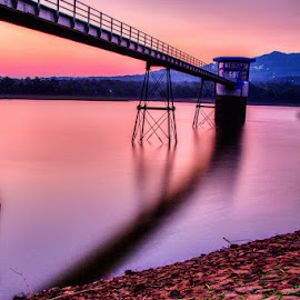 gembong by Tito Pradipta - Buildings & Architecture Bridges & Suspended Structures ( purple, sunset, dam, pink, lake, bridge )