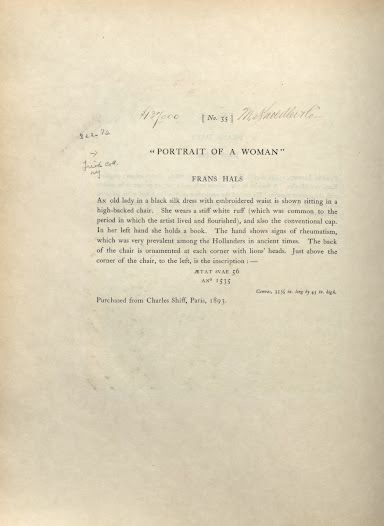 """Item description for Hals's <i>Portrait of a Woman</i> from the 1910 <a href=""""http://nyarc.org/digital_projects/gilded_age/31072002510263.pdf#view=Fit"""">catalogue</a>. Annotations from the copy held at the Frick Art Reference library."""