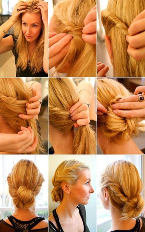 Прическа на скорую руку на средние волосы