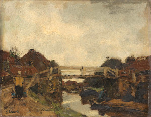 RIJKS: Jacob Maris: Wooden Bridge across a Canal at Rijswijk 1878