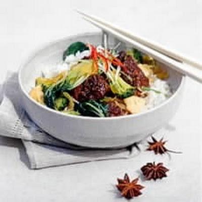 Oriental Pork Casserole with Stir-fried Green Vegetables