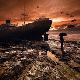 Berkabung dalam duka by Juprinaldi Photoart  - Digital Art Things ( people              umbrella's                     oldship                                    sea                     sunrise                                   birds                                  surreal )