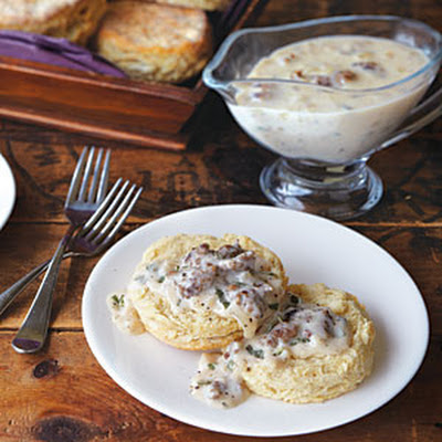 Alabama Cat Head Biscuits with Sausage Gravy
