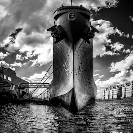 Battleship at Rest by Aulander Skinner - Black & White Objects & Still Life ( wisconsin, ship, uss, battleship, war )