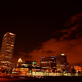 Milwaukee night by Jay Anderson - City,  Street & Park  Skylines ( milwaukee, sky, line, lake, night,  )