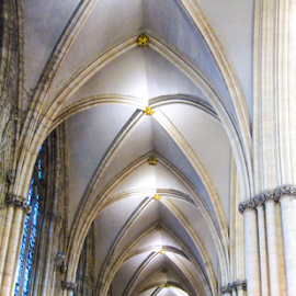 Side aisle in York Minster by Del Candler - Buildings & Architecture Architectural Detail ( lights, minster, gothic, vaulted, ceiling, stone, york, ribbed, pillars, Architecture, Ceilings, Ceiling, Buildings, Building )