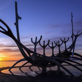 Midnight Sun Voyager by Tom DiMatteo - Landscapes Travel ( iceland, midnight, reykjavik, www.tomdimatteo.com, voyager, stainless, steel, solfar, sun )