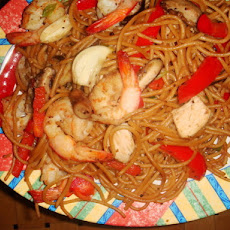 Ginger Chicken & Shrimp Stir-Fry With Sesame Noodles