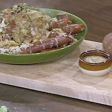 Mixed Sausages Braised in Sauerkraut, Hard Cider, Apples and Onions