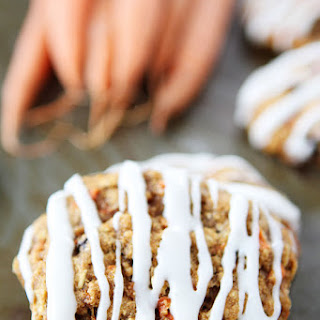 Carrot Cake Oatmeal Cookies with Cream Cheese Glaze