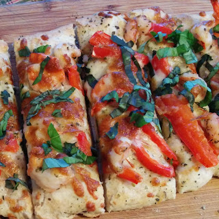 BBQ chicken pizza + shrimp flatbread