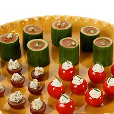 Gazpacho in Cucumber Cups