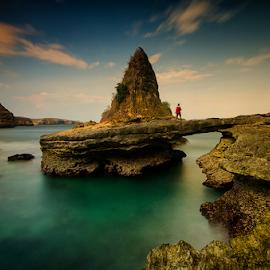 Bloam by Didik Mahsyar - Landscapes Sunsets & Sunrises ( stone, rock, lombok, beach, nikon, dhm )