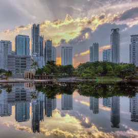 City RAY by Kerex Photography - City,  Street & Park  Skylines ( reflection, hdr, photographer, sureal, lake, cityscape, landscape, garden, photography )