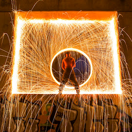 Pillars by Kyle Doratt - Abstract Light Painting ( light painting, steel wool, night )