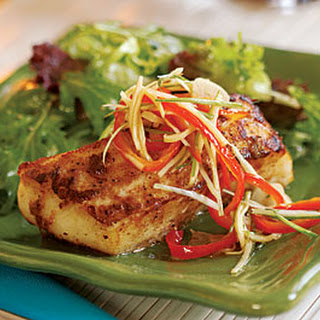 Chinese Five-Spice Halibut with Pickled Red Pepper & Ginger