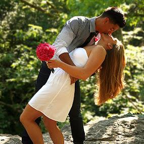 The Kiss by Elk Baiter - Wedding Bride & Groom ( kiss, wedding, bride, passion, groom,  )