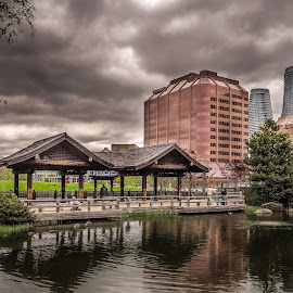 Cloudy day in the city by Jack Brittain - Buildings & Architecture Office Buildings & Hotels ( canada, ontario, architecture, pond, mississauga )