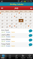 Screenshot of Birthday Calendar