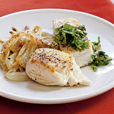 Halibut with Caper Salsa Verde
