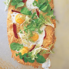 Rustic Flatbread with Egg, Arugula and Pecorino
