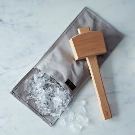 "Hand-Stitched Ice Crushing Bag with the ""Schmallet"" Wooden Ice Mallet"