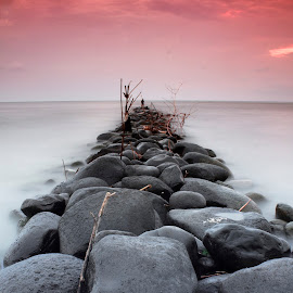 Beauty but dirty by Abdul Aziz - Landscapes Beaches ( canon, indonesia, pekalongan, rock, beach, landscape,  )