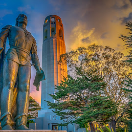 Coit Tower by Max Juan - Buildings & Architecture Statues & Monuments ( clouds, sunset, historical, san francisco, coit tower )
