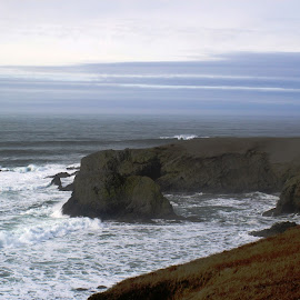 Yaquina Head Lighthouse View by Bill Waterman - Landscapes Beaches ( lighthouse ocean rocks sky waves )