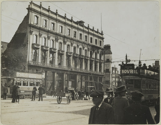 The Imperial Hotel and Clery's department store, Sackville Street. The Imperial Hotel was one of the first buildings to succumb to fire during the Rising