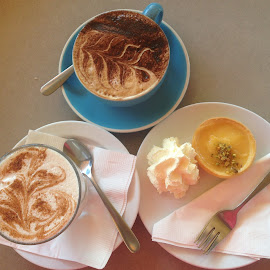 Lemon Tart and Lattes...Yum! by Dawn Simpson - Food & Drink Alcohol & Drinks ( tart, coffee, dining, cafe, latte, lemon )
