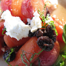 Honey Glazed Radishes and Carrots with Raisins, Mint, Ricotta Salata