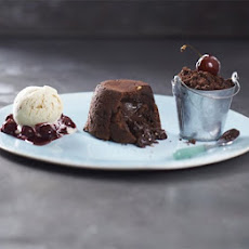 Choc-peanut Fondants With Chocolate Soil & Cherries