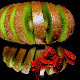kiwi on mirror by LADOCKi Elvira - Food & Drink Fruits & Vegetables ( fruits )