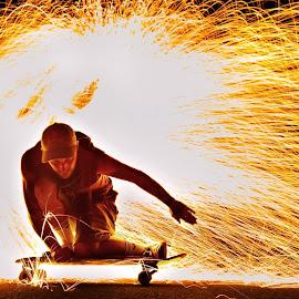 Sk8 Or Die... by Peter Velisek - Sports & Fitness Skateboarding ( skateboarding, hdr, steelwool, action, low light, men, portrait, colours )
