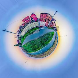 Little Earth by Srdjan Vujmilovic - Digital Art Places ( skyline, planet, houses, sky, sunset, landscape photography, house, earth, landscape, photography, photoshop )