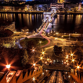 Night view over Danube - Budapest by Florin Ihora - Buildings & Architecture Bridges & Suspended Structures ( hungary, budapest, chain bridge, night, danube )