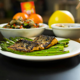 chinese new year by Elaina Edzahar - Food & Drink Cooking & Baking ( fish, vegetables, chinesenewyear, chinesenewyeareve, dinner, friends, family, food, gathering, asparagus, salmon, cooking, meal )