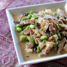 Pork, Shiitake and Edamame in Coconut Cream Sauce