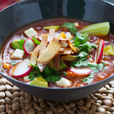 Tortilla Soup with Hominy & Queso Fresco