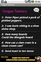 Screenshot of Tongue Twisters