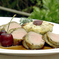 Herb Crusted Veal Tenderloin and Celery Root and Pear Sformato with Cherry Sauce