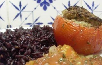tomate farcie mouton riz violet