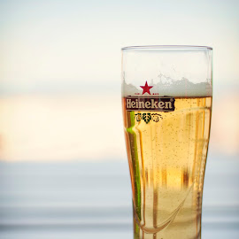 BEER ON THE BEACH by Ventsislava Bonina - Food & Drink Alcohol & Drinks ( cool, beer, heineken, alcohol, glass, Food & Beverage, meal, Eat & Drink )
