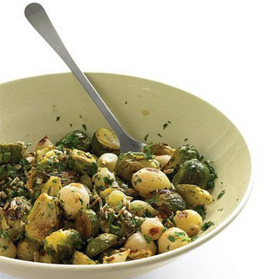 Roasted Brussels Sprouts with Sunflower Seeds