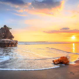 sunset yeh gangga by Didik Putradi - Landscapes Sunsets & Sunrises ( sand, orange, sunset, beach, landscape )