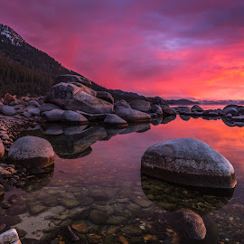 Stained Glass by Mike Lindberg - Landscapes Sunsets & Sunrises ( alpine lake, reflection, boulders, sierra nevada, california, eastern sierra, nevada, mountain lake, sunset, tahoe, glass, sierra, granite, lake tahoe )
