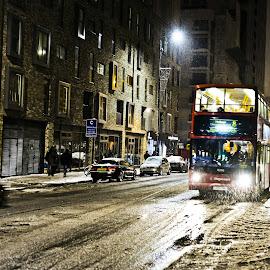 London bus by Piotr Owczarzak - Transportation Automobiles ( uk, winter, bus, london, snow, street )