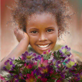 Smile 2 by Kume Bryant - Digital Art People ( wildflowers, person, african, one, daughter, pretty, eyes, child, girl, happy, american, teenager, lifestyle, cosmos, childhood, flowers, smile, child portrait, young, teeth, portrait, female, color, background, small, floral )