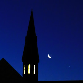 Celestial Spire by Brenda Conrad - Buildings & Architecture Places of Worship ( planets, building, planet, moon, church, stars, churches, buildings, star, night, architecture, evening )